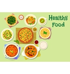 Indian cuisine thali dishes and snacks icon vector