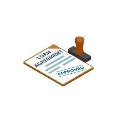 Loan agreement with loan approved stamp icon vector image vector image