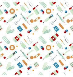 Medical seamless pattern with drugs medicine vector