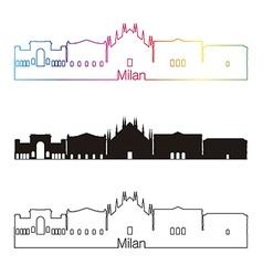 Milan skyline linear style with rainbow vector