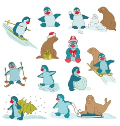 Penguins - Christmas Set vector image