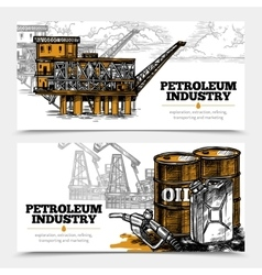Petroleum industry horizontal banners vector