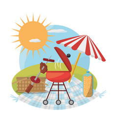 Picnic grill umbrella basket food sunny vector