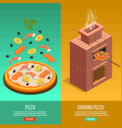 Pizza baking banner set vector