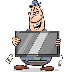 Salesman with television set cartoon vector