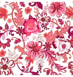 Seamless floral background Colorful red isolated vector image vector image