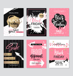set of sale banners with grunge elements brush vector image vector image
