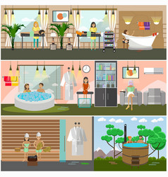 Set of spa therapy concept posters banners vector