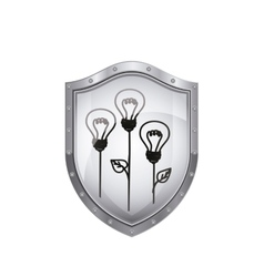 Shield with light bulb eco with leaves vector