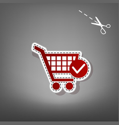 shopping cart with check mark sign red vector image vector image