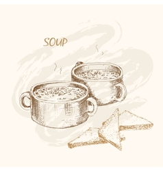 Soup and bread vector
