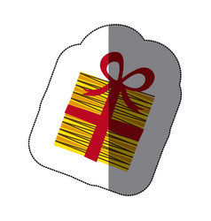 Sticker colorful striped gift box with ribbon vector