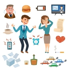 Stress people pressure workplace tired unhappy vector image vector image