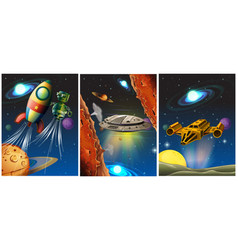 three scenes with spaceship and robot in space vector image