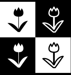 Tulip sign black and white icons and line vector