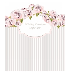 Watercolor pink Roses Flowers card vector image