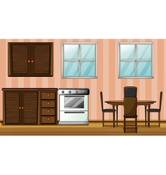Wooden furniture in a room vector image vector image