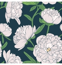 Peony flowers seamless pattern vector