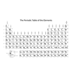 Black and white monochrome Periodic Table of the vector image