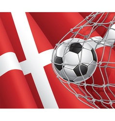 Soccer goal and denmark flag vector