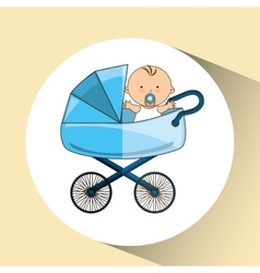 Beautiful baby on pram blue design vector