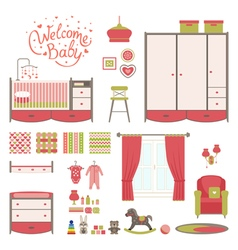 Set baby room vector