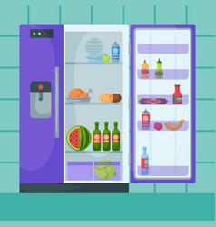 refrigerator organic food kitchenware household vector image
