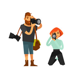 Photographer man and woman journalist or paparazzi vector
