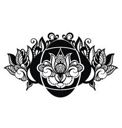 lotus floral in tattoo style vector image