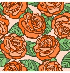seamless background orange roses with green leaves vector image