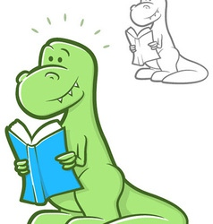 Reading dinosaur vector