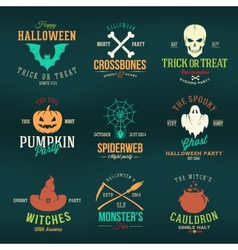 Vintage typography halloween color badges or logos vector