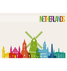 Travel netherlands destination landmarks skyline vector