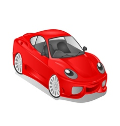 Merry small red car cartoon vector
