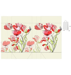 Template for bag with flowers vector