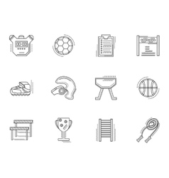 Thin line style physical culture icons vector
