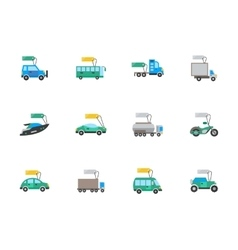 Auto business flat color icons set vector