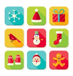 New year and merry christmas square app icons set vector