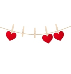 Red hearts with clothespins vector