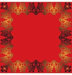 Abstract gold frame on a red background vector image