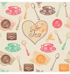 Vintage love tea pattern vector