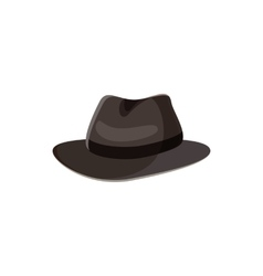 Black hat icon in cartoon style vector