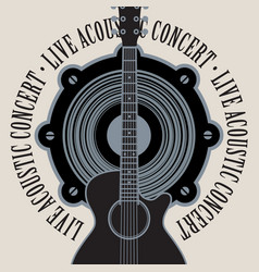banner for live concert with speaker and guitar vector image
