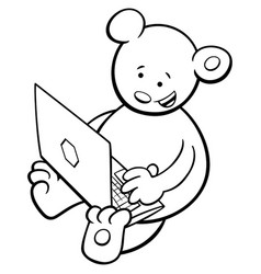 Bear with notebook coloring book vector