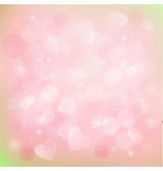 blurred winter background with hearts and vector image
