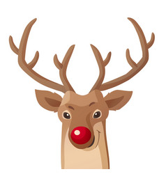Cartoon christmas funny rudolph red vector