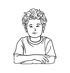 contour picture of a boy schoolboy with curly vector image
