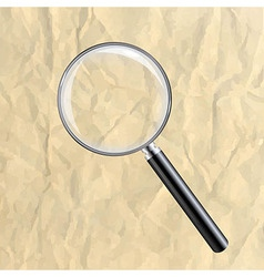 Crushed paper with magnifying glass vector
