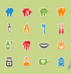 Dental office icon set vector