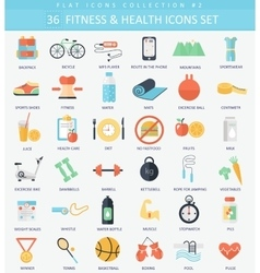 fitness and health Flat icon set Elegant vector image vector image